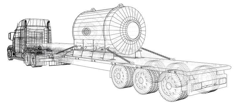 Vehículo de cargo Alambre-marco Formato EPS10 Vector creado de 3d ilustración del vector