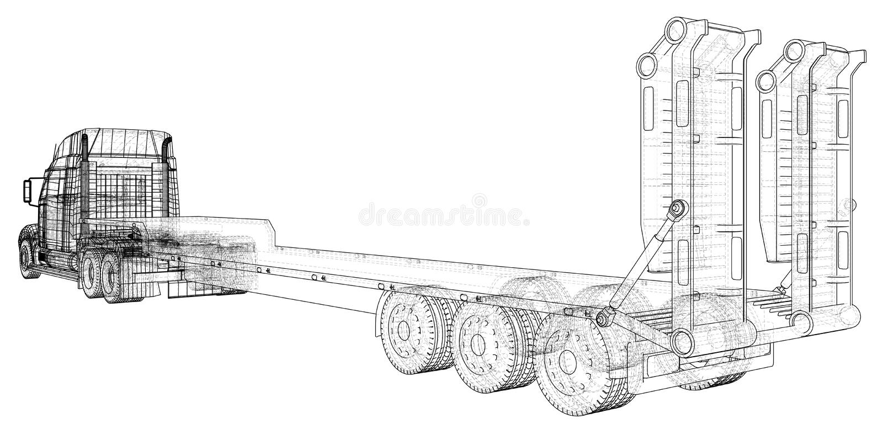 Vehículo de cargo Alambre-marco Formato EPS10 Vector creado de 3d libre illustration