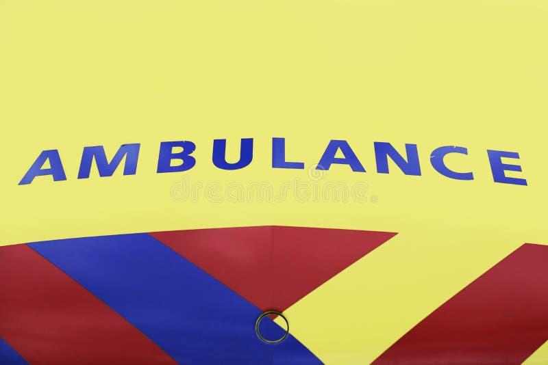 Vehículo de la ambulancia en Holanda, vista delantera imagenes de archivo
