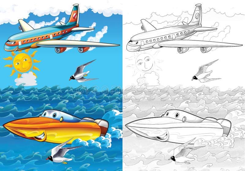Vehículo de la historieta - página del colorante con avance stock de ilustración