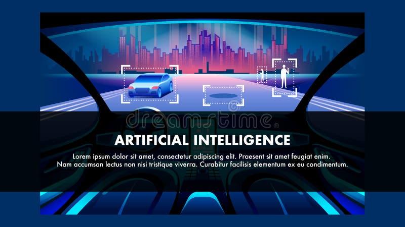 Vehículo de la inteligencia artificial Bandera del vector ilustración del vector