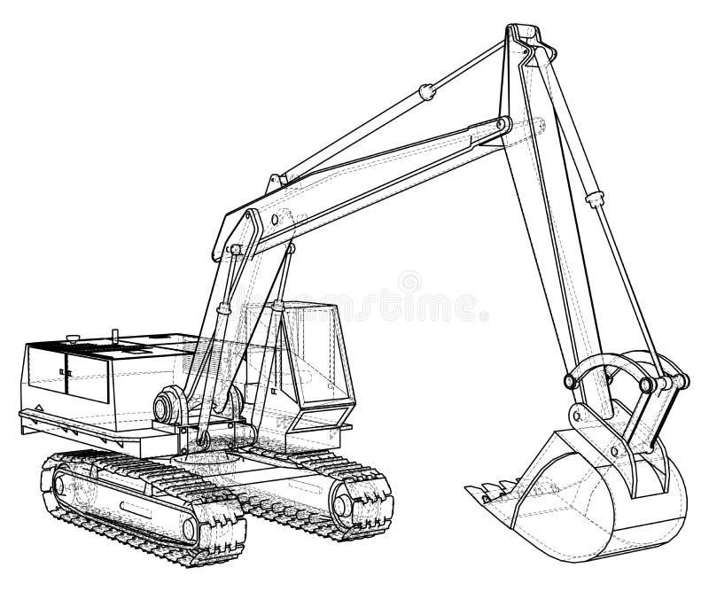 Vehículo de la máquina de la construcción Excavador Formato EPS10 Vector creado de 3d stock de ilustración