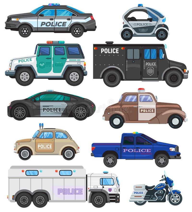 Vehículo de la política del vector del coche policía y moto o motocicleta del sistema del ejemplo del policía de transporte de lo ilustración del vector