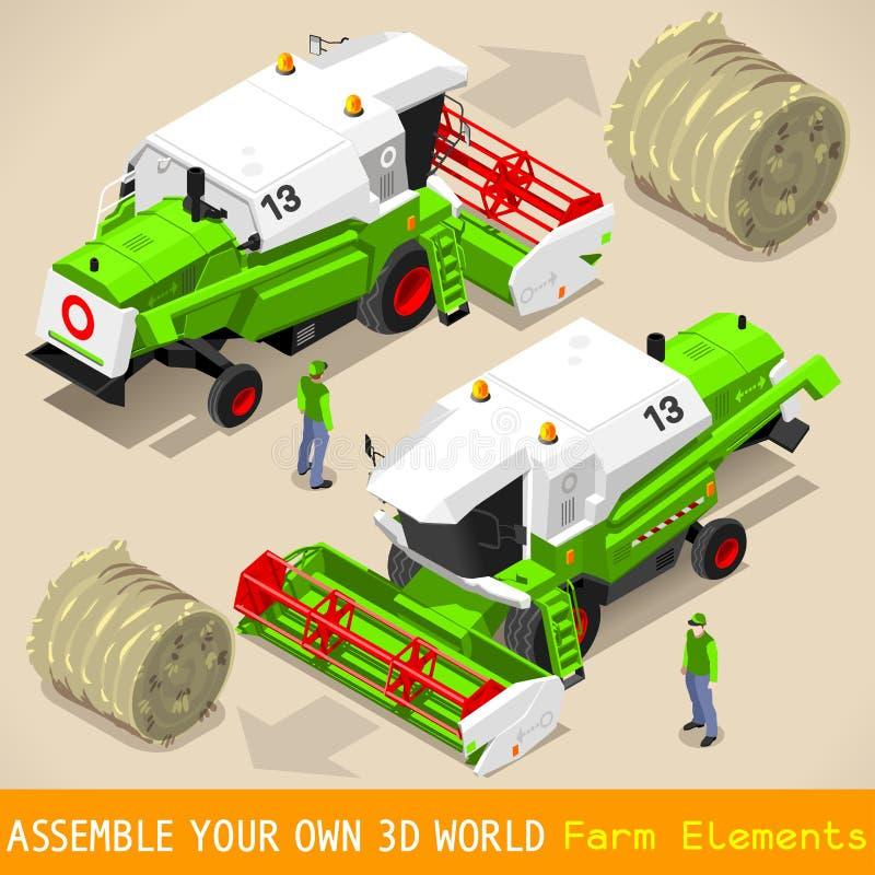 Vehículo de la trilladora 03 isométrico libre illustration