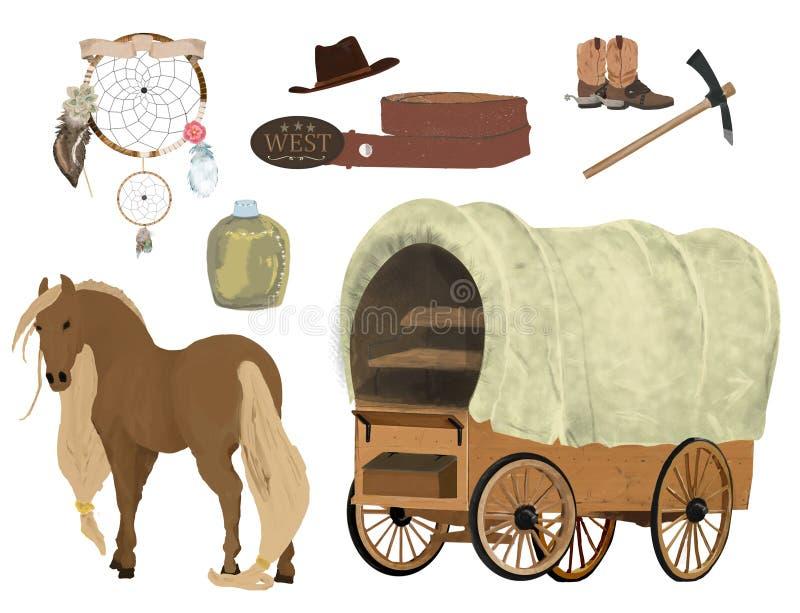 Vehículo de madera tirado por los caballos, correa, dreamcatcher, acuarela de la piqueta occidental r Clip art encendido stock de ilustración