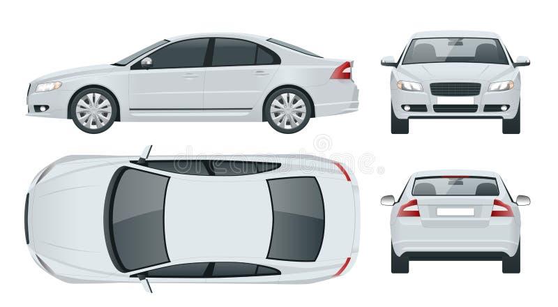 Vehículo del sedán del negocio El vector de la plantilla del coche aisló el frente de la opinión del ejemplo, parte posterior, la stock de ilustración