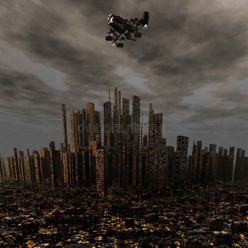 vehículo espacial extranjero del UFO 3d sobre noche ilustración del vector