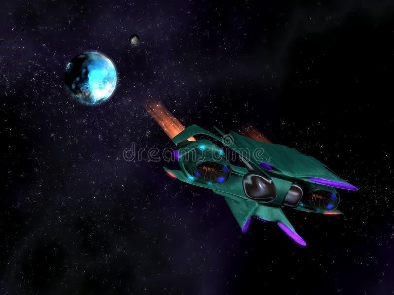 Vehículo espacial extranjero en la acción en el espacio ilustración del vector