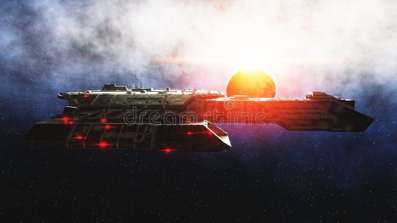 Vehículo espacial futurista adentro Opinión del wonderfull del planeta de la tierra Superficie de metal realista representación 3 stock de ilustración