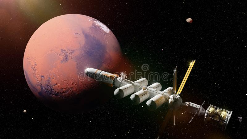 Vehículo espacial futurista en la órbita del planeta Marte, misión en la representación roja de la ciencia ficción del planeta 3d stock de ilustración