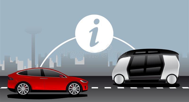 Vehículo a la comunicación del vehículo stock de ilustración