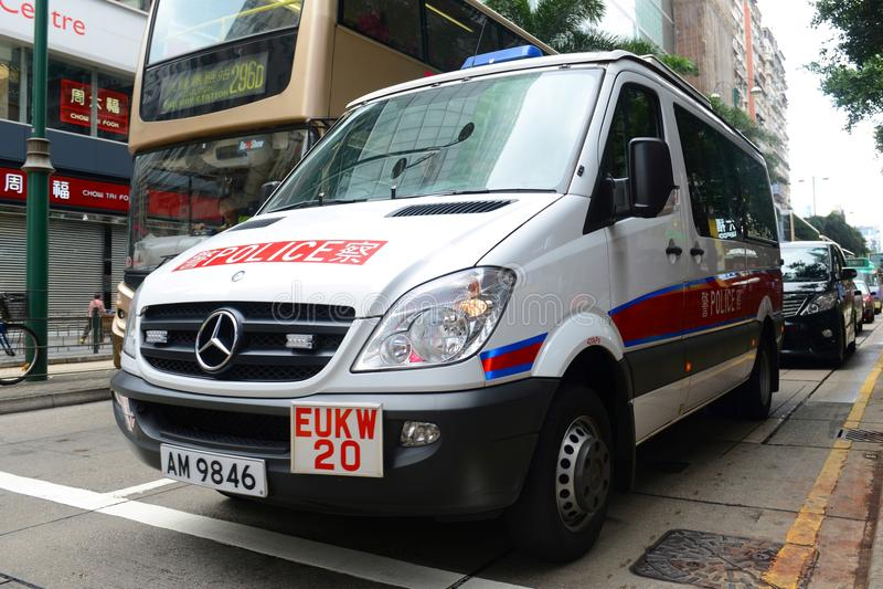 Vehículo policial de Hong Kong de servicio fotos de archivo libres de regalías