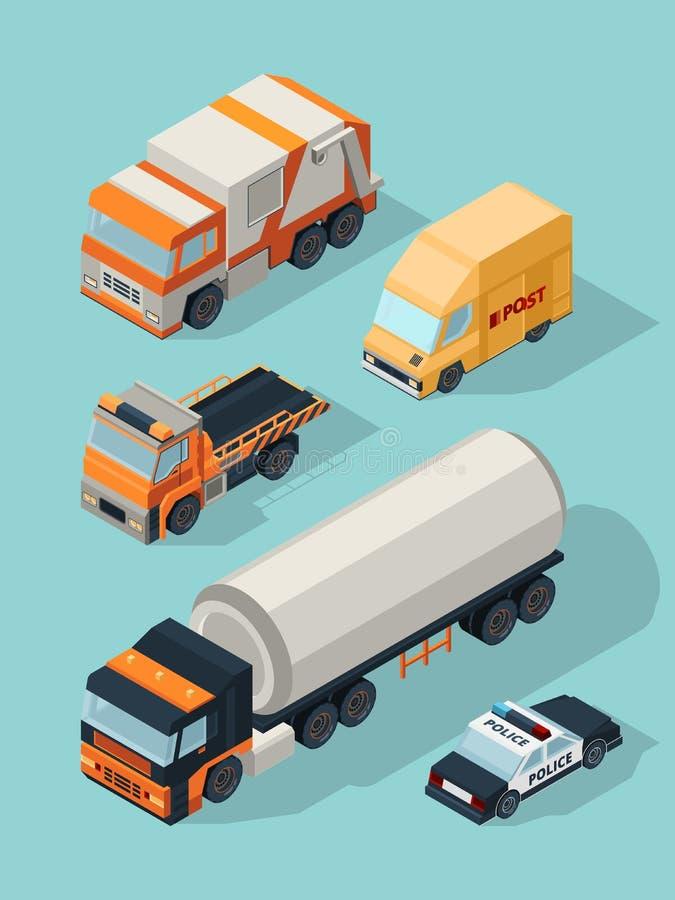 Vehículo urbano isométrico Camión de combustible del servicio de gas de los coches de la ciudad del transporte, imágenes del tráf stock de ilustración