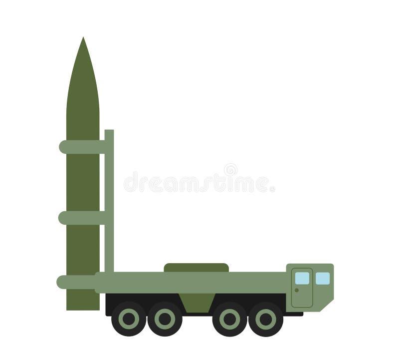 Vehículo y lanzador - camión militar del misil con el cohete balístico intercontinental ilustración del vector