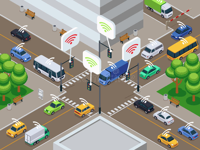 Vehículos con el dispositivo infrarrojo del sensor Los coches elegantes sin tripulación en tráfico de ciudad vector el ejemplo ilustración del vector