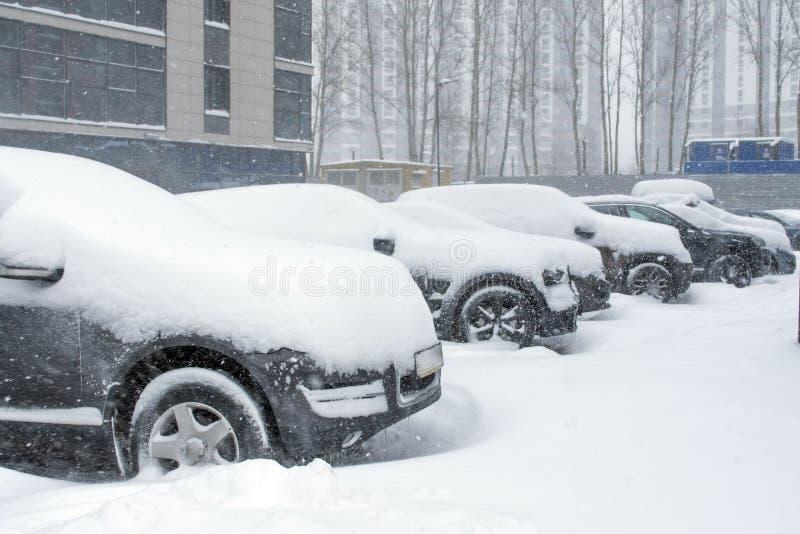 Vehículos cubiertos con nieve en la ventisca del invierno en el estacionamiento foto de archivo libre de regalías