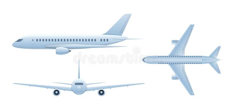 Vehículos de aire Aeroplano del vuelo, avión de pasajeros Avión de pasajeros en diversos ángulos stock de ilustración