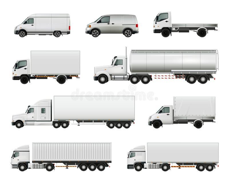 Vehículos de cargo realistas fijados ilustración del vector