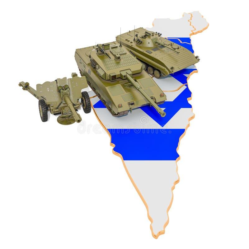 Vehículos de combate en el mapa israelí Defensa militar del concepto de Israel, representación 3D ilustración del vector