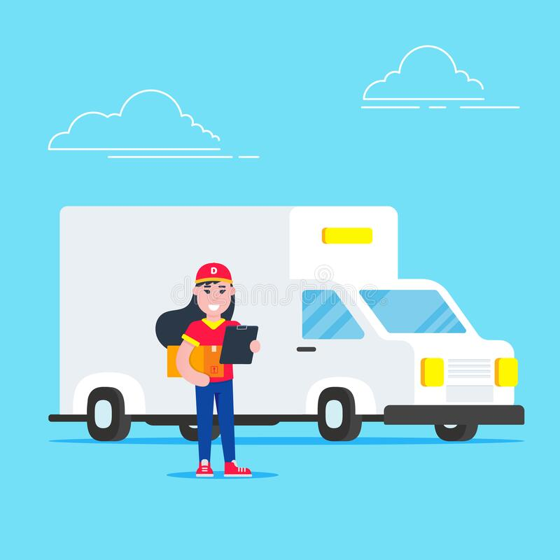 Vehículos de entrega rápida y de entrega en blanco van y caracter man con caja cerca del buzón diseño de estilo plano ilustración ilustración del vector