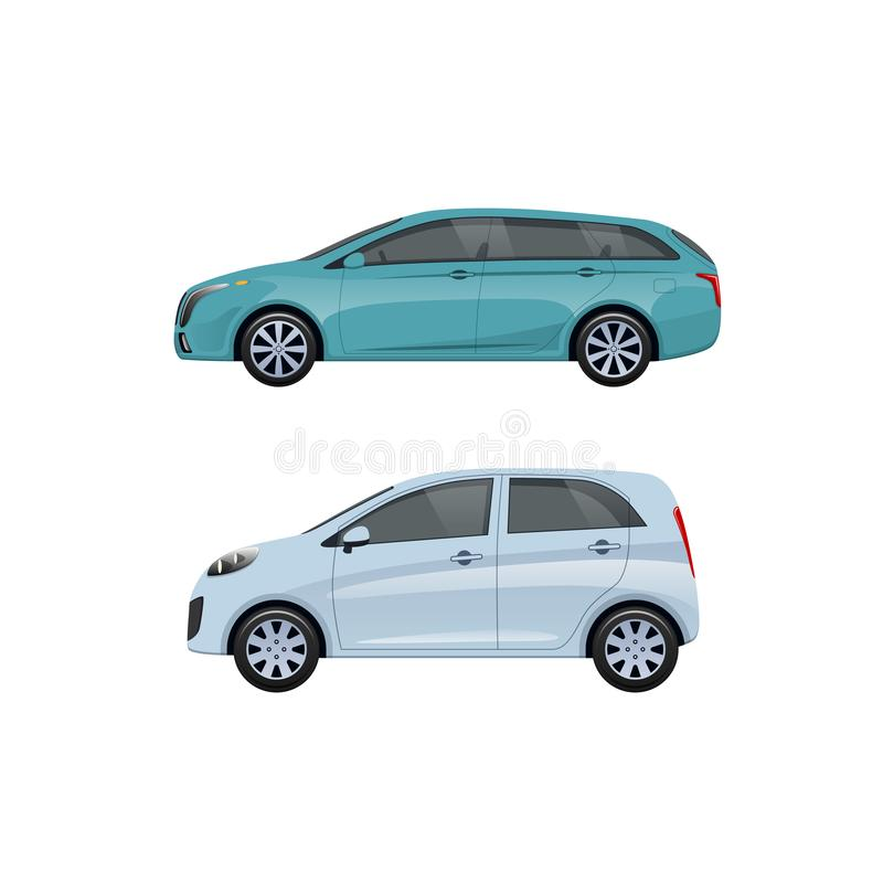 Vehículos de pasajeros modernos para las familias, viajes largos, viaje, equipaje del transporte stock de ilustración