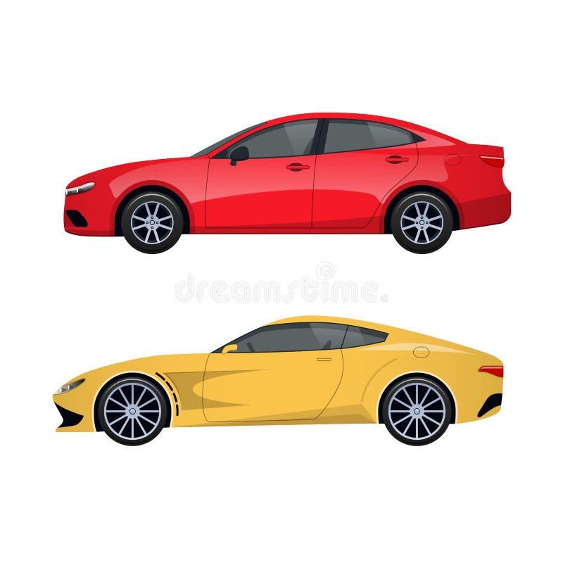 Vehículos de pasajeros modernos para las familias, viajes largos, viaje, equipaje del transporte ilustración del vector