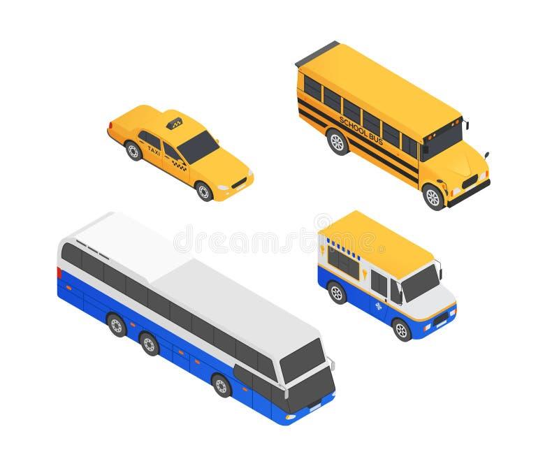 Vehículos de transporte público - elementos coloridos isométricos del vector moderno libre illustration