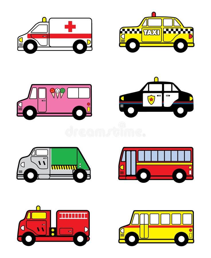 Vehículos del juguete del niño ilustración del vector