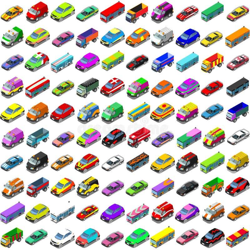 Vehículos isométricos del vector de los iconos 3D del juego de los coches ilustración del vector