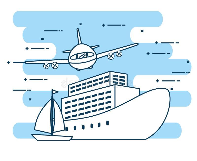 Vehículos logísticos del sistema del transporte stock de ilustración