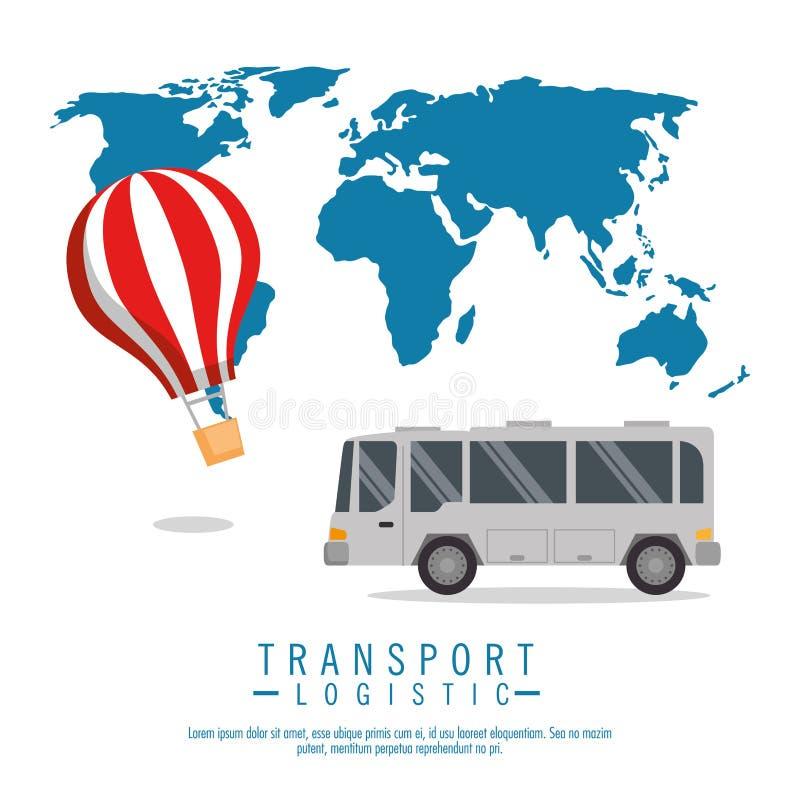 Vehículos logísticos del sistema del transporte ilustración del vector