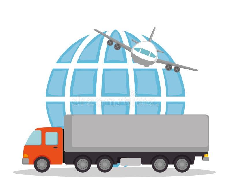 Vehículos logísticos del sistema del transporte libre illustration