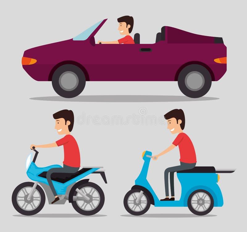 Vehículos logísticos del sistema del transporte con los conductores stock de ilustración