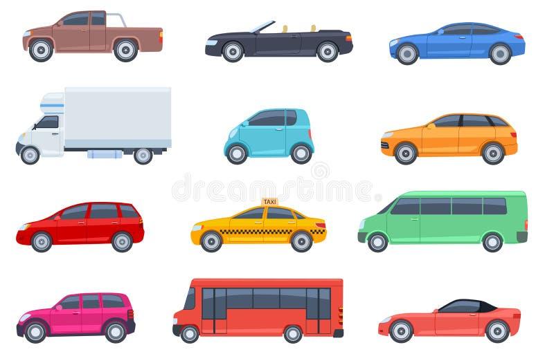 Vehículos planos. Taxi y minivan, cabriolet y camioneta. Autobús y camioneta. Transporte urbano, urbano de automóviles y vehíc stock de ilustración