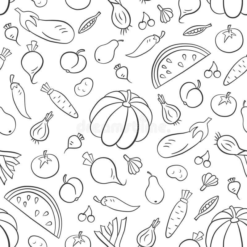 Vehículos y frutas Modelo inconsútil en estilo del garabato y de la historieta contorno ilustración del vector