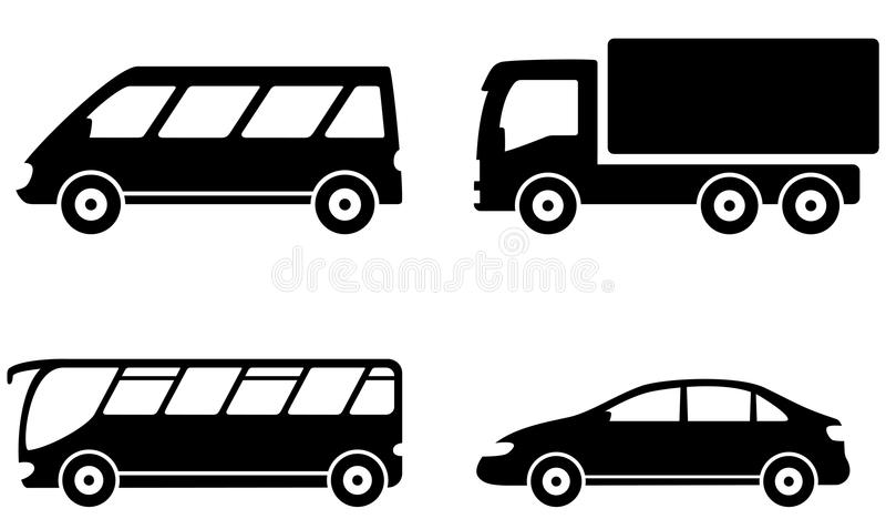 Vehicle, bus, truck and car transport set vector illustration