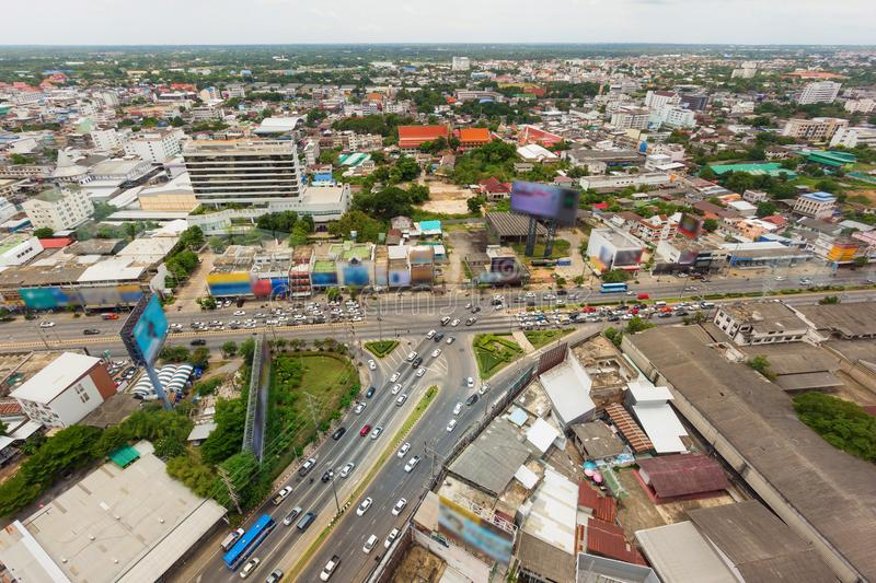 Vehicle congestion on road in city. At rush time, bird eye view royalty free stock images