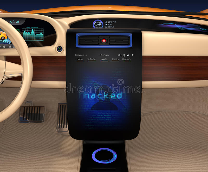 Vehicle console monitor showing screen shot of computer system was hacked. Concept for risk of self-driving car stock illustration