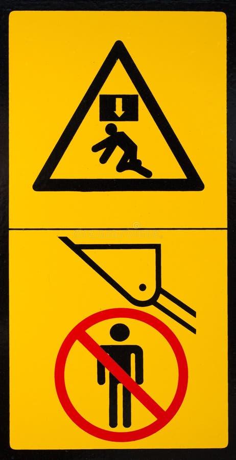 Vehicle danger warning label 2. Vehicle danger warning label. Hazard warning sign stock photos