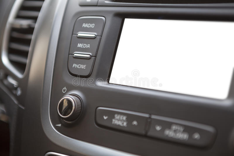 Vehicle dashboard with isolated white lcd screen stock photo