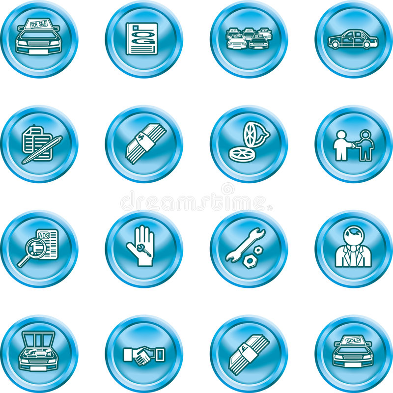Vehicle dealership icon set. Icons or design elements related to purchasing a car. No meshes used stock illustration