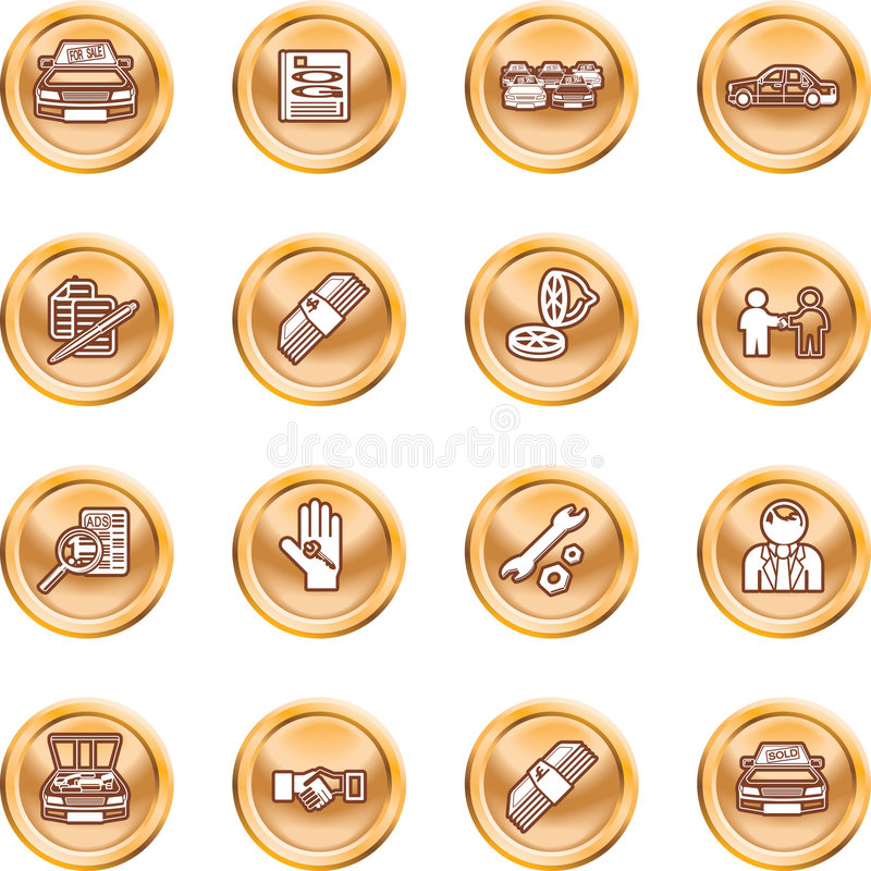 Vehicle dealership icon set. Icons or design elements related to purchasing a car. No meshes used royalty free illustration