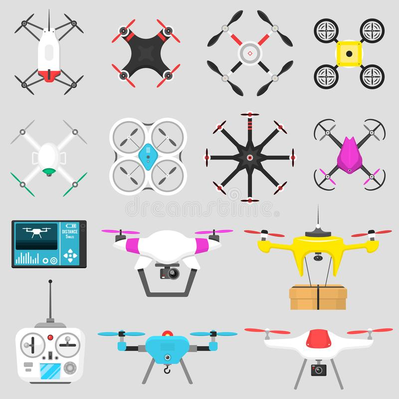 Vehicle drone quadcopter Vector illustration air hovering tool remote control fly camera. Air drone hovering wireless tool. Remote control fly camera