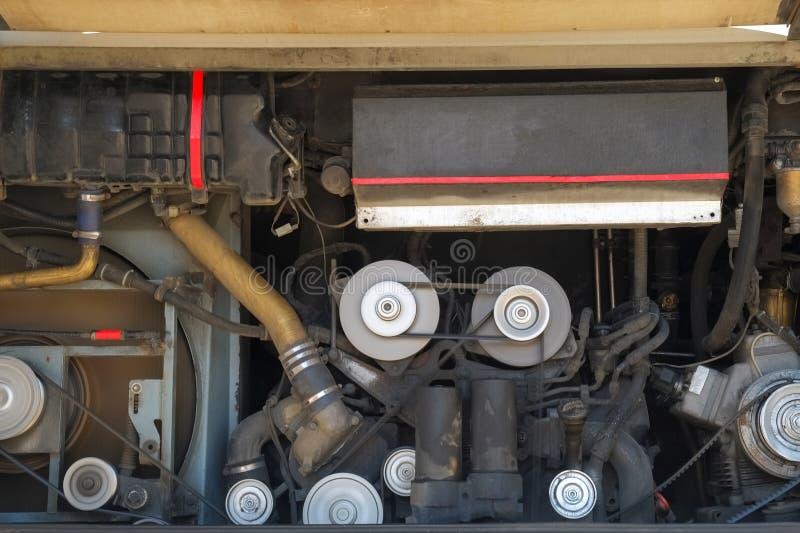 Vehicle engine. Close up shot of vehicle dirty engine royalty free stock photo