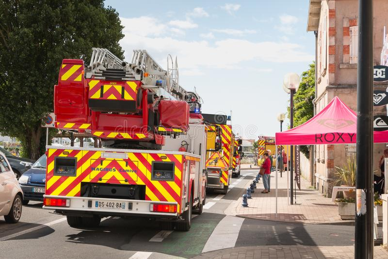 Vehicle fire during a parade in France royalty free stock photos