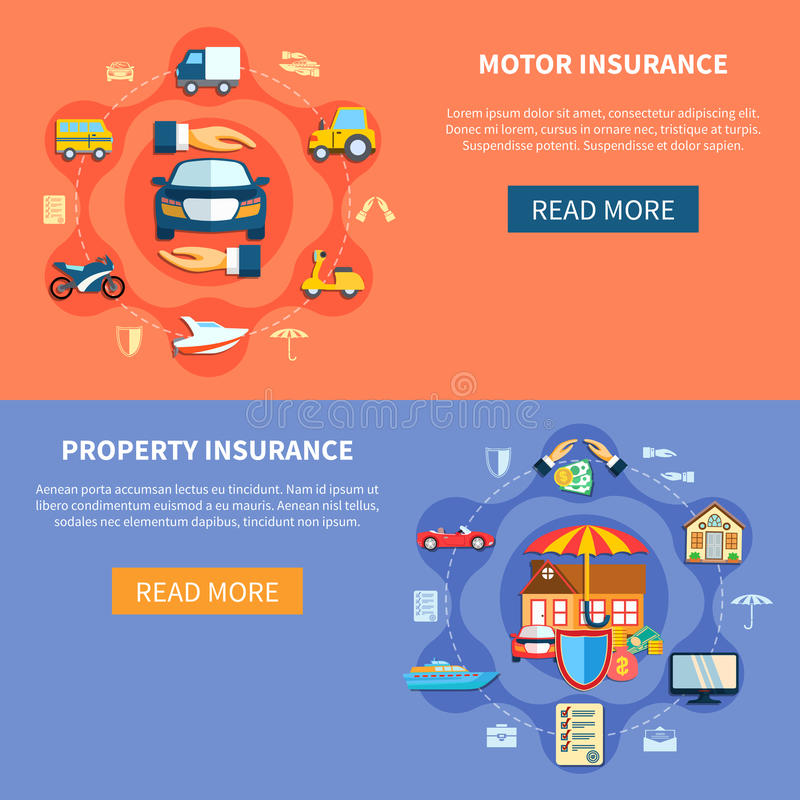 Vehicle And House Insurance Horizontal Banners. Transport and property elements in flat style vector illustration stock illustration