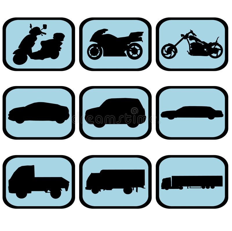 Download Vehicle icon set stock illustration. Image of color, simple - 4947169