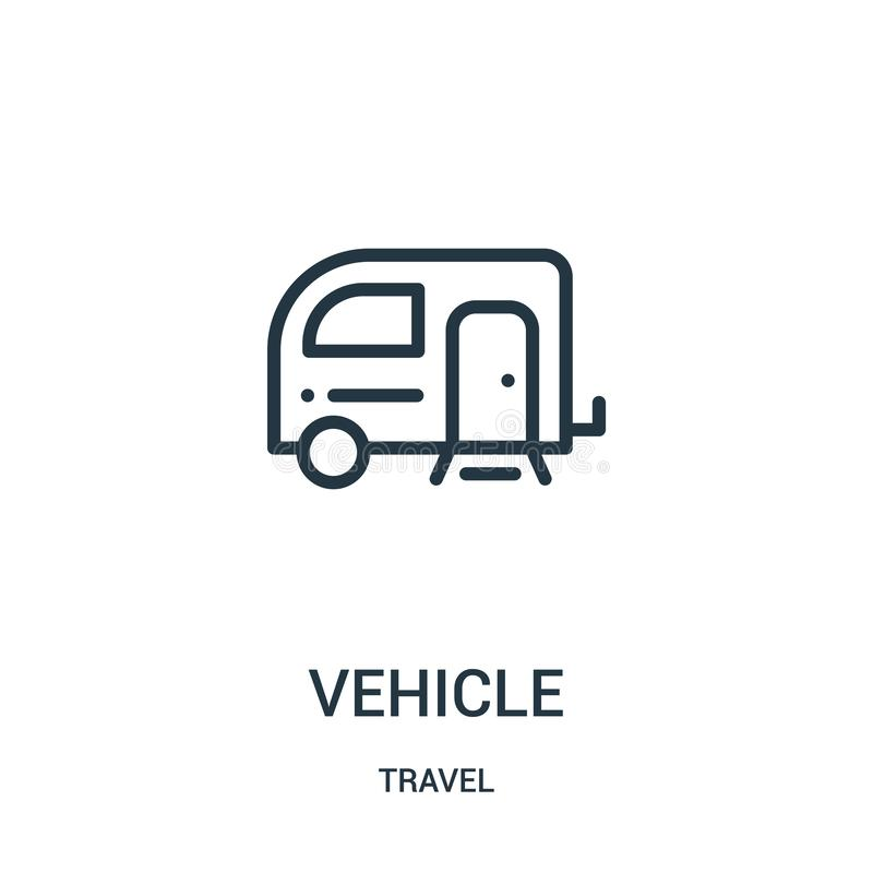 vehicle icon vector from travel collection. Thin line vehicle outline icon vector illustration. Linear symbol for use on web and stock illustration