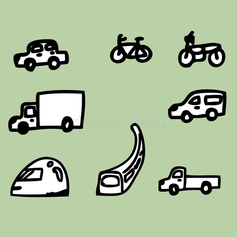 Vehicle Icons. Illustration of hand drawing the vehicle icons stock illustration