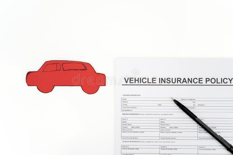 Vehicle Insurance Paper Near Pen And Car Cardboard Stock ...